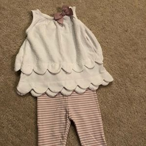 Scalloped edge top and matching pants